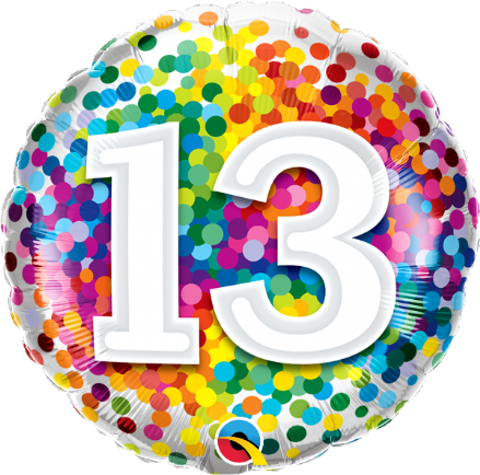 13th Birthday Confetti Design Foil Balloon